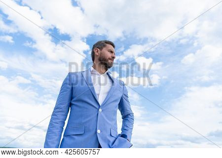Business Success. Successful Boss In Businesslike Suit. Entrepreneur Or Manager.