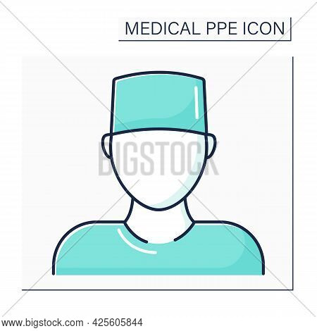 Surgical Cap Color Icon.personal Protective Equipment. Barrier Between Person And Germs. Medical Ppe