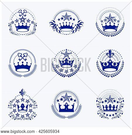 Imperial Crowns Emblems Set. Heraldic Coat Of Arms, Vintage Vector Logos Collection.