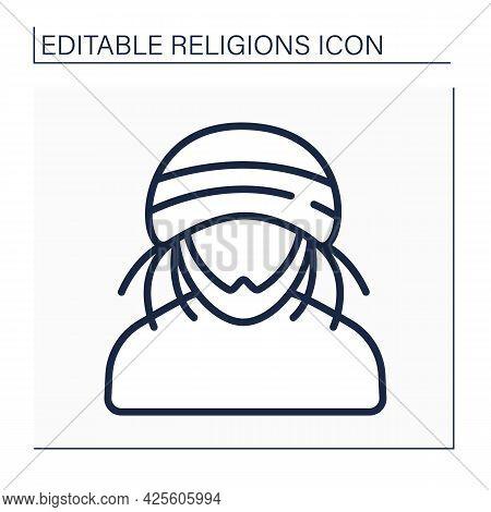 Rastafari Line Icon. Representative Of Religion Ras Tafari In Jamaica. Africa-centred Religion. Mari