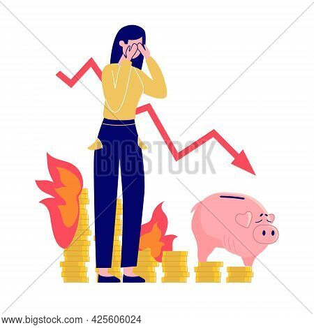 Inflation, Vector Concept. The Woman Is Crying With Despair, The Money Is On Fire, The Piggy Bank Is