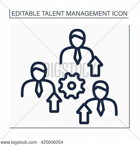 Promote Employees Line Icon. Ascension Of An Employee To Higher Ranks. Increase In Salary, Rank, Res