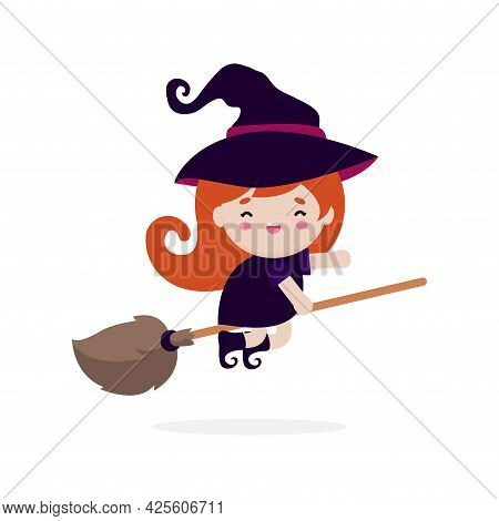 Happy Halloween For Cute Little Witch Flying On Broom. Girl Kid In Halloween Costume Isolated On Whi
