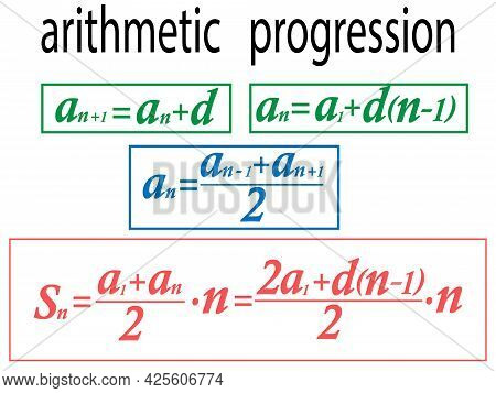 Vector Illustration Depicting Mathematical Arithmetic Progression Formulas For Prints On Posters And