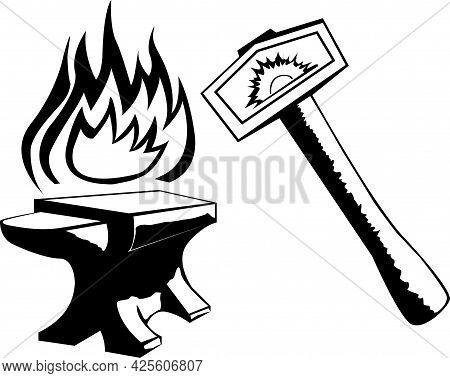 Black And White Illustration Depicting A Hammer And Anvil And A Stylized Flame As A Symbol Of Blacks