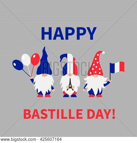 Bastille Day Gnomes With Flag Of France. French Patriotic Gnomes. Vector Template For Poster, Banner
