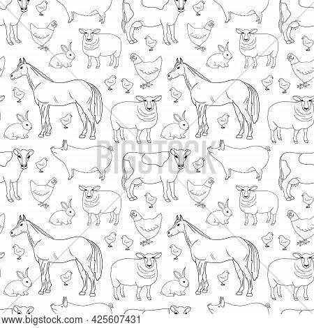 Outline Farm Animals Seamless Pattern. Cow, Horse, Pig, Chicken, Hen, Sheep, Rabbit. Animal Husbandr