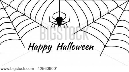 Cobwebs And A Hanging Spider On White Background. Happy Halloween Greeting Card. Decorating The Room