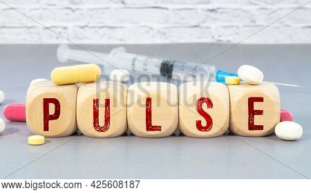 Pulse - Words From Wooden Blocks With Letters, Feel Worried And Nervous Stress Concept, Top View Lig