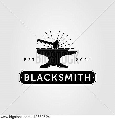Blacksmith Anvil And Forging Hammer Logo Vector Illustration Design