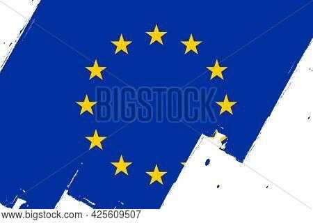 Flag Of Europe. European Flag, Banner With Grunge Brush. European Union.