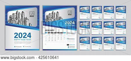Wall Calendar 2024 Template Set, Set Desk Calendar 2024 Year, Happy New Year, Planner, Week Start On