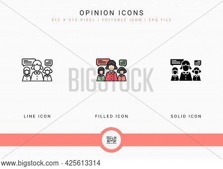 Opinion Icons Set Vector Illustration With Solid Icon Line Style. Customer Satisfaction Check Concep