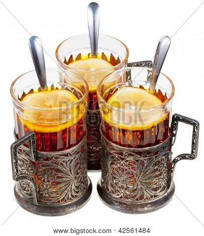 Retro Glasses In Old Cupronickel Glassholders