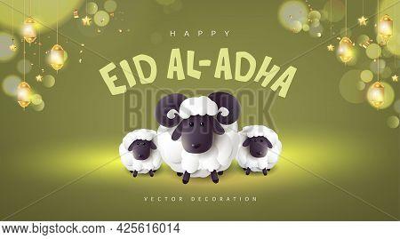 Eid Al Adha Mubarak The Celebration Of Muslim Community Festival Banner With White Sheep