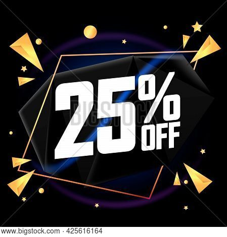 Sale 25% Off, Banner Design Template, Discount Tag, Promo Poster For Shops And Online Stores