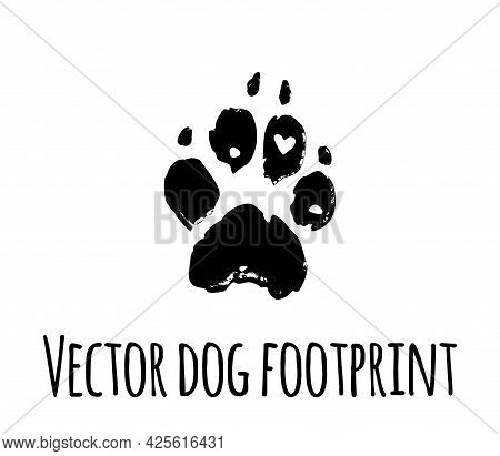 Vector Dog Grunge Footprint.black Pet Doggy Textured Paw Mark Silhouette Drawing Sign Illustration I