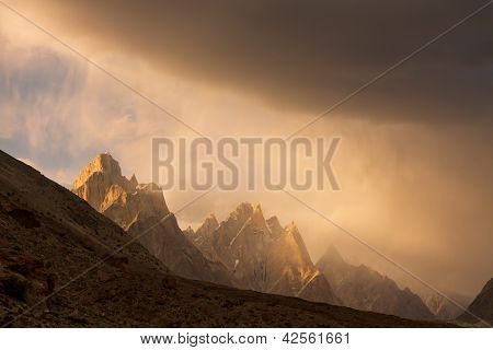 Trango Towers At Sunset