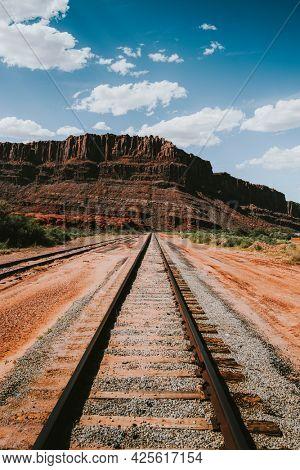 Railroad leading to a mountain in Utah, USA