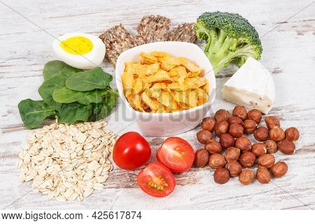 Healthy Ingredients Or Products As Source Vitamin B2, Dietary Fiber And Natural Minerals, Concept Of