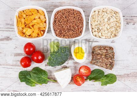 Nutritious Ingredients Containing Vitamin B2, Dietary Fiber And Minerals, Healthy Nutrition Concept