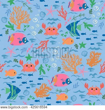 Seamless Pattern With Crabs, Fish, Corals, Algae. Vector Image.
