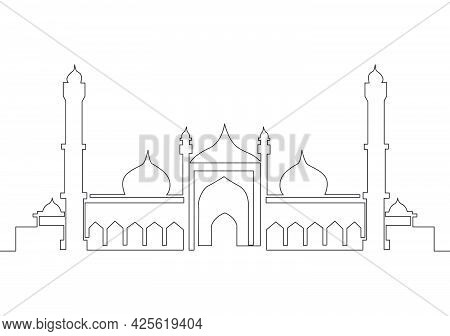 Single Continuous Line Drawing Of Islamic Historical Landmark Masjid Or Mosque. Historical Construct
