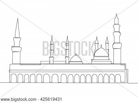 Single Continuous Line Drawing Of Historical Mosque Or Masjid An Nabawi In Medina. Historical Constr