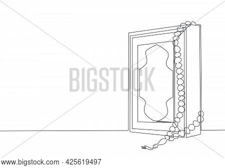 Single Continuous Line Drawing Of Quran Holy Book Of Muslim Person And A Tasbih, Use As A Reminder T
