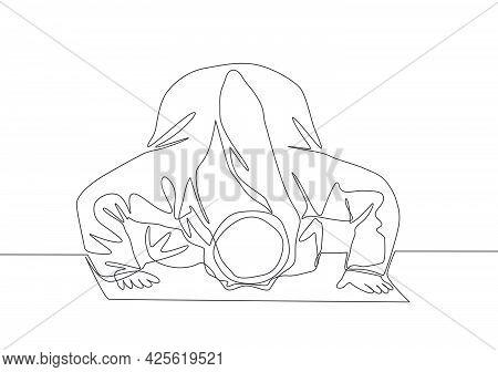 Single Continuous Line Drawing Of Muslim Person Praying, Doa Sujud Movement On Pray. Sajadah Worship
