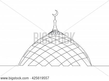 Single Continuous Line Drawing Of Historical Landmark Mosque Or Masjid. Holy Historical Construction