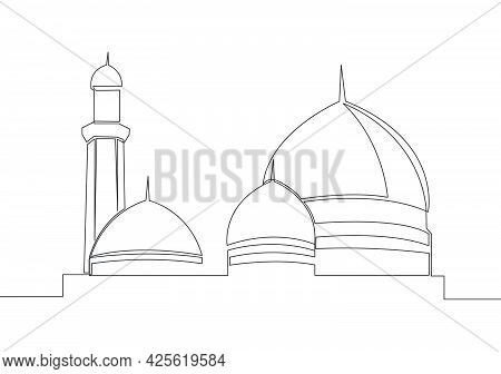 Single Continuous Line Drawing Of Historical Dome Landmark Mosque Or Masjid. Historical Holy Constru
