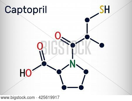 Captopril Molecule. It Is Angiotensin-converting Enzyme Inhibitor, Ace Inhibitor, Used In The Treatm