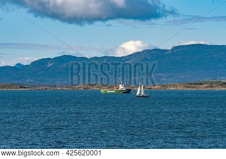 The Greenpeace Ship Esperanza In The Beagle Canal In Front Of The City Ushuaia, Patagonia, Argentina