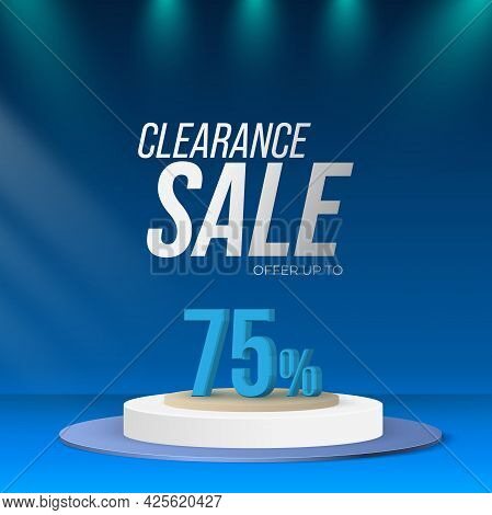 Clearance Sale Offer Stage Podium With Lighting, Stage Podium Scene On Blue Background. Abstract Min