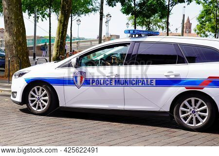 Sète , Ocitanie France  - 06 30 2021 : Ford Car With Sign And Symbol Of French National Police Parke