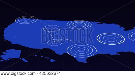 Blue map with radiating white concentric circles circles spreading between territories on dark grey background. growing global communication network hubs concept.