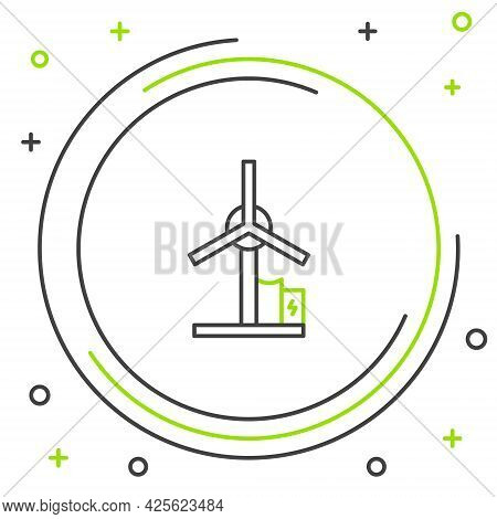 Line Wind Turbine Icon Isolated On White Background. Wind Generator Sign. Windmill For Electric Powe