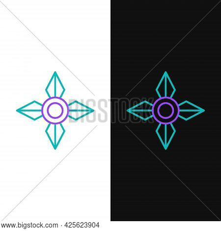 Line Japanese Ninja Shuriken Icon Isolated On White And Black Background. Colorful Outline Concept.
