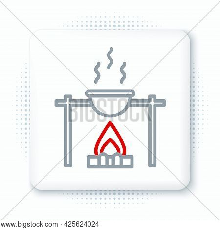 Line Campfire And Pot Icon Isolated On White Background. Fire Camping Cooking In Cauldron On Firewoo