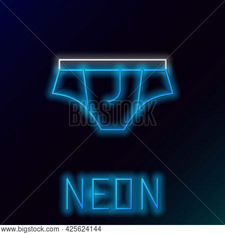 Glowing Neon Line Underwear Icon Isolated On Black Background. Colorful Outline Concept. Vector