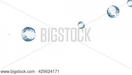 Image of multiple translucent blue bubbles floating across white background. colour and movement concept digitally generated image.