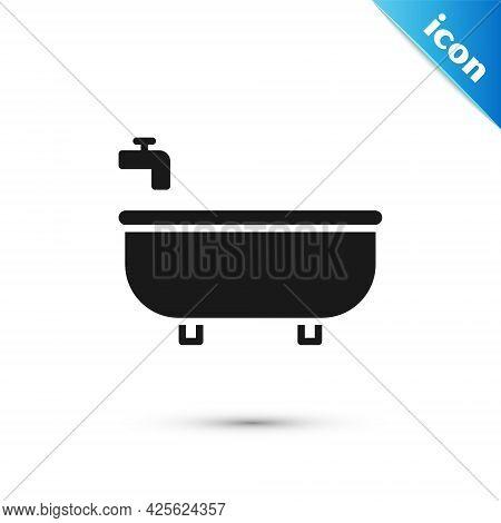 Grey Bathtub Icon Isolated On White Background. Vector Illustration