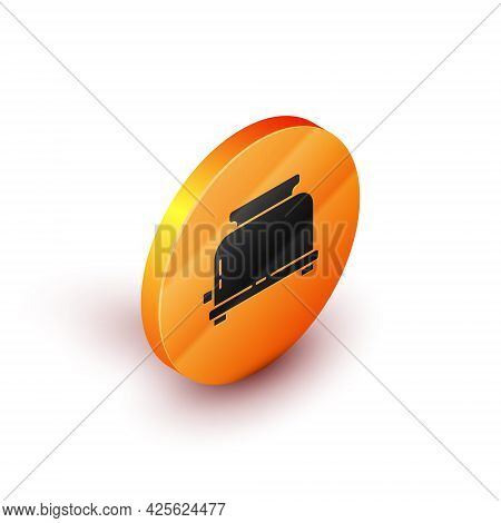Isometric Toaster With Toasts Icon Isolated On White Background. Orange Circle Button. Vector