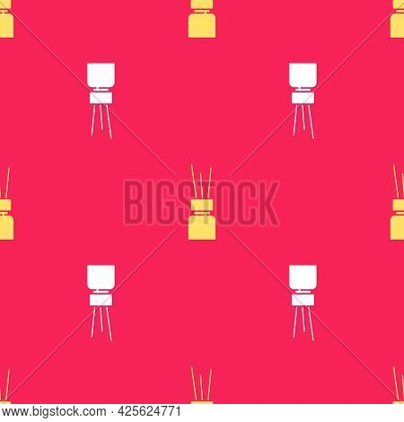 Yellow Aroma Diffuser Icon Isolated Seamless Pattern On Red Background. Glass Jar Different With Woo