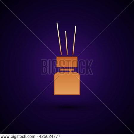 Gold Aroma Diffuser Icon Isolated On Black Background. Glass Jar Different With Wooden Aroma Sticks.