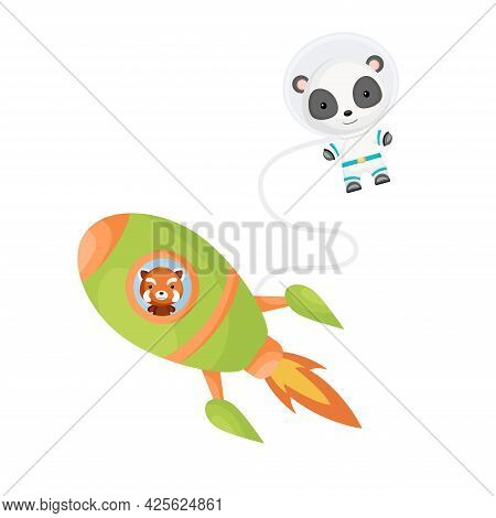 Cute Little Red Panda Flying In Green Rocket. Cartoon Panda Character In Space Costume With Rocket O