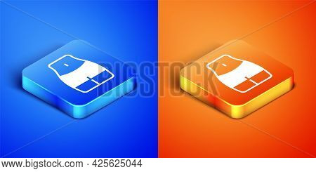 Isometric Women Waist Icon Isolated On Blue And Orange Background. Square Button. Vector