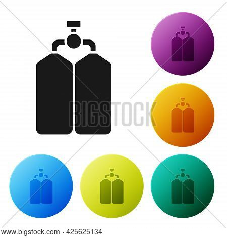 Black Aqualung Icon Isolated On White Background. Oxygen Tank For Diver. Diving Equipment. Extreme S