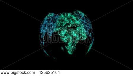 Image of a green globe made of connections and multiple shapes spinning on black background